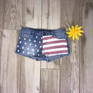 Rue 21 American Flag Jean Shorts Size 3/4